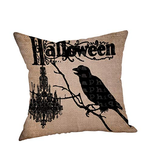 YOcheerful Deals Happy Halloween Pillow Cases Cusion Cover Home Decor (B,Free Size) ()