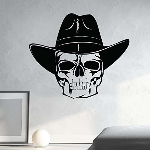 Skull with Cowboy Hat Wall Decal by Style & Apply - Wall Sticker, Vinyl Wall Art, Home Decor, Wall Mural - SA3064-46in x 40in-Pink]()