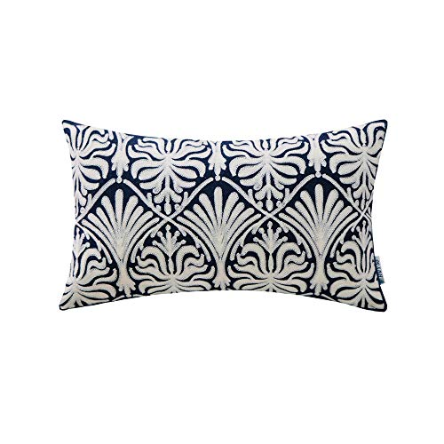 Decorative Rectangle Toss Pillow (HWY 50 Embroidered Decorative Rectangle Throw Pillow Covers Cushion Cases for Couch Sofa Bed Blue Simple Geometric Floral Accent Lumbar Pillowcases 12x20 inch, 1 Piece)