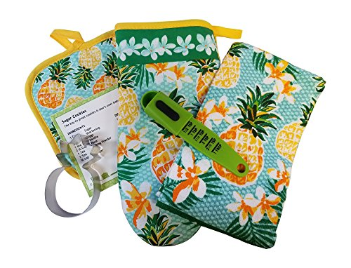 Mainstay Pineapple 6 piece Kitchen Linen Set Hot Pad Oven Mitt Kitchen Towel Cookie Cutter Cookie Recipe Bundle by Mainstay