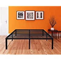 SLEEPLACE SVC14BF08K 14 Inch Tall ST-2000 Round Edge Steel Slat Bed Frame, Black, King