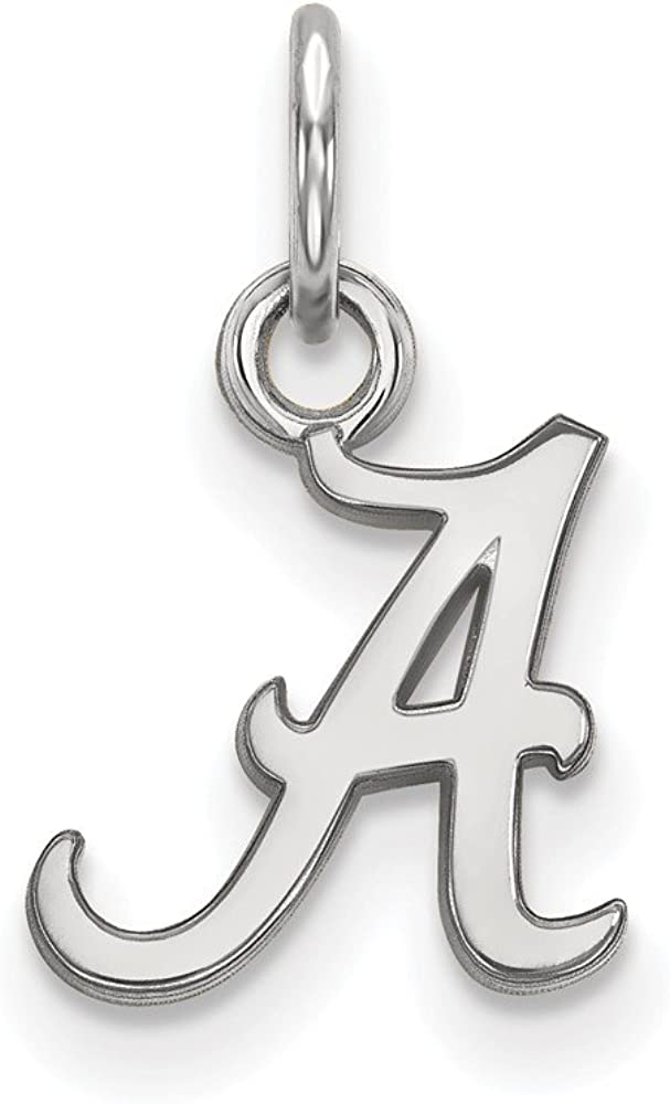 Solid 10k White Gold Official University of Alabama Extra Small Tiny Pendant Charm 15mm x 9mm