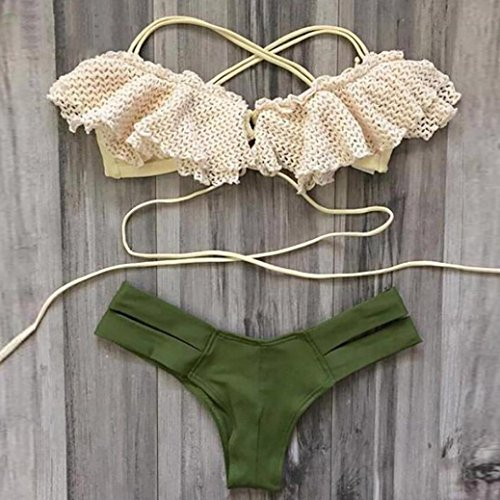 Conjunto de bikini Vovotrade Traje de baño para mujer Push-Up Bra acolchado Verde