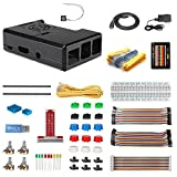 HSU Starter Kit for Raspberry Pi 3 2 Model B/B+,with Black Case,2.5A Power Supply, T-Type GPIO Expansion Board and Other Basic Electronic Components