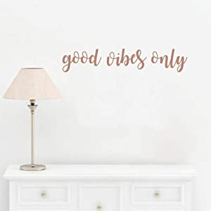 Good Vibes Only Quote Wall Decal Inspirational Attitude Sticker Motivational Quote Wall Decor for Office Yoga Room,Brown Gold