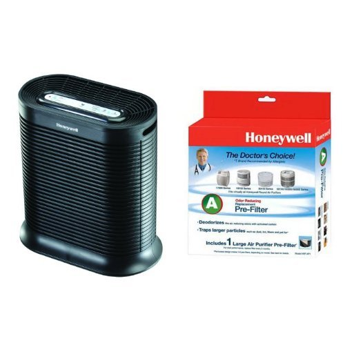 Honeywell HPA200 True HEPA Allergen Remover, 310 sq. ft. & Honeywell HRF-AP1 Trickle A Universal Carbon Pre-filter, Pack of 1