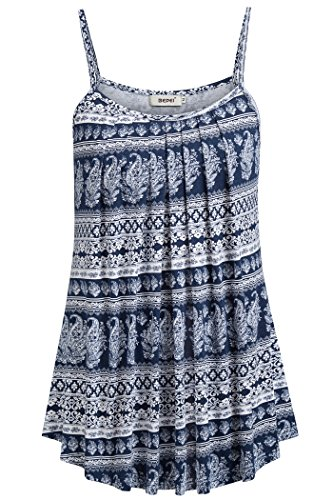 BEPEI Shirts for Women, Loose Casual Summer Pleated Flowy Sleeveless Camisole Drape Tank Tops