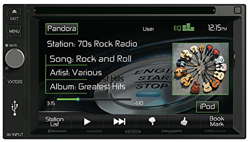 Jensen VX7020 6.2 inch LCD Multimedia Touch Screen Double Din Car Stereo Receiver with Built-In Navigation, Bluetooth, CD/DVD Player & USB/microSD Ports