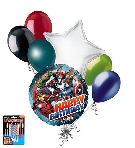 7 pc Avengers Group Balloon Bouquet Cartoon Super Hero Happy Birthday Iron Man