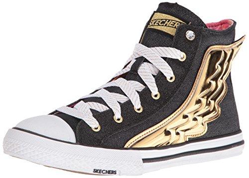 Skecher Street Women's Utopia Wing It Fashion Sneaker, Black/Gold, 7 M US