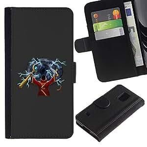 Paccase / Billetera de Cuero Caso del tirón Titular de la tarjeta Carcasa Funda para - The Green Wizard - Samsung Galaxy S5 V SM-G900