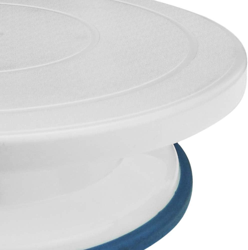 Kuchen Plattenspieler mit Raster-Kit Manuelle rotierende drehteller 28 cm Weiss PrimeMatik