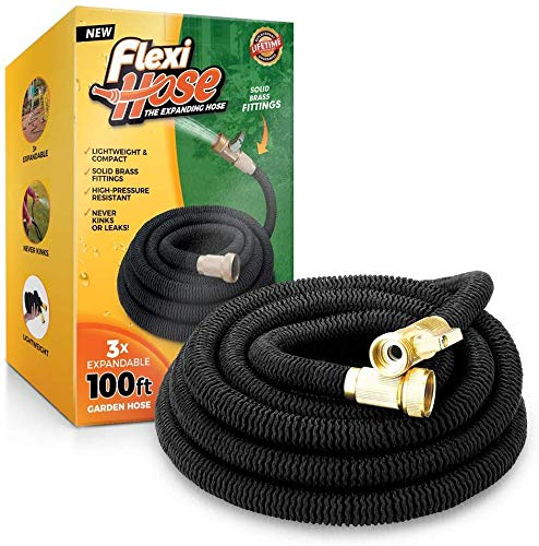 Flexi Hose 100 FT Lightweight Expandable Garden Hose | Ultimate No-Kink Flexibility – Extra Strength with 3/4 Inch Solid Brass Fittings & Double Latex Core | Rot, Crack, Leak Resistant