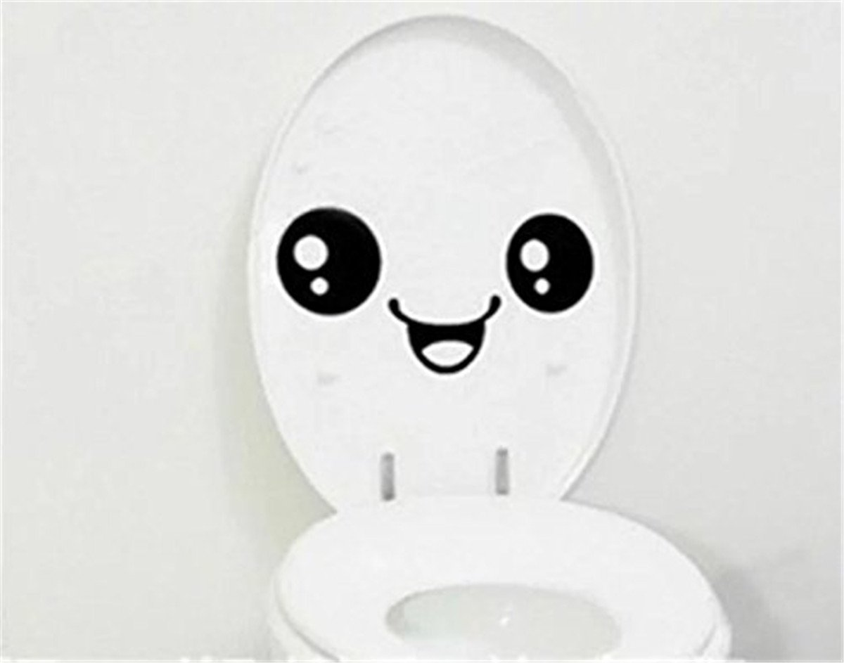 Ishua Toilet Smile Decal English Funny Bathroom Wall Stickers Toilet Paste Men and Women Toilet Seat Decal Wall Art DIY Mural Decor