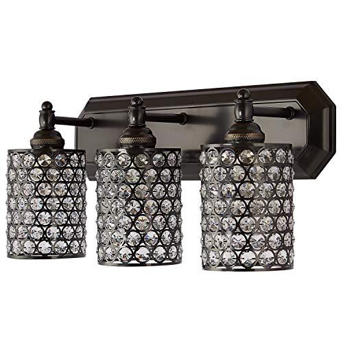 Doraimi Crystal Wall Sconce Light Fixture 1/3 Globe Vanity Bath Light Bar Interior Lighting Fixture (Black,3 Light) LED Bulb(not Include)
