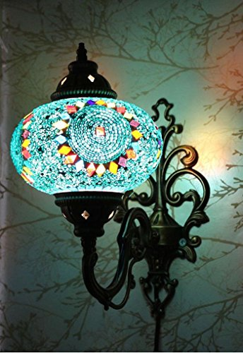 Moroccan Mosaic Tiffany Glass and Metal Wall Light Sconce