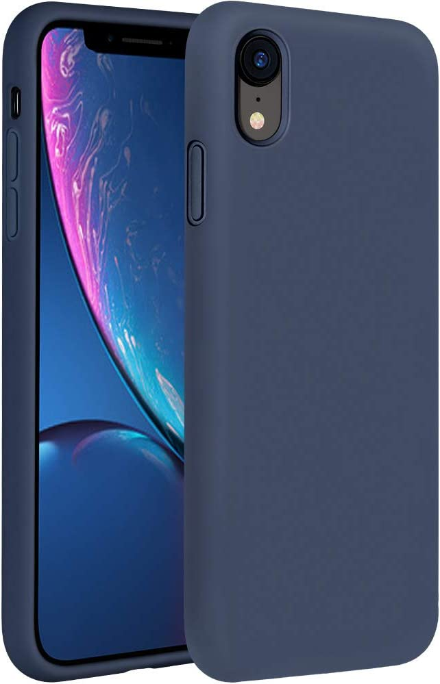Miracase Liquid Silicone Case Compatible with iPhone XR 6.1 inch (2018), Gel Rubber Full Body Protection Shockproof Cover Case Drop Protection Case (Navy Blue)