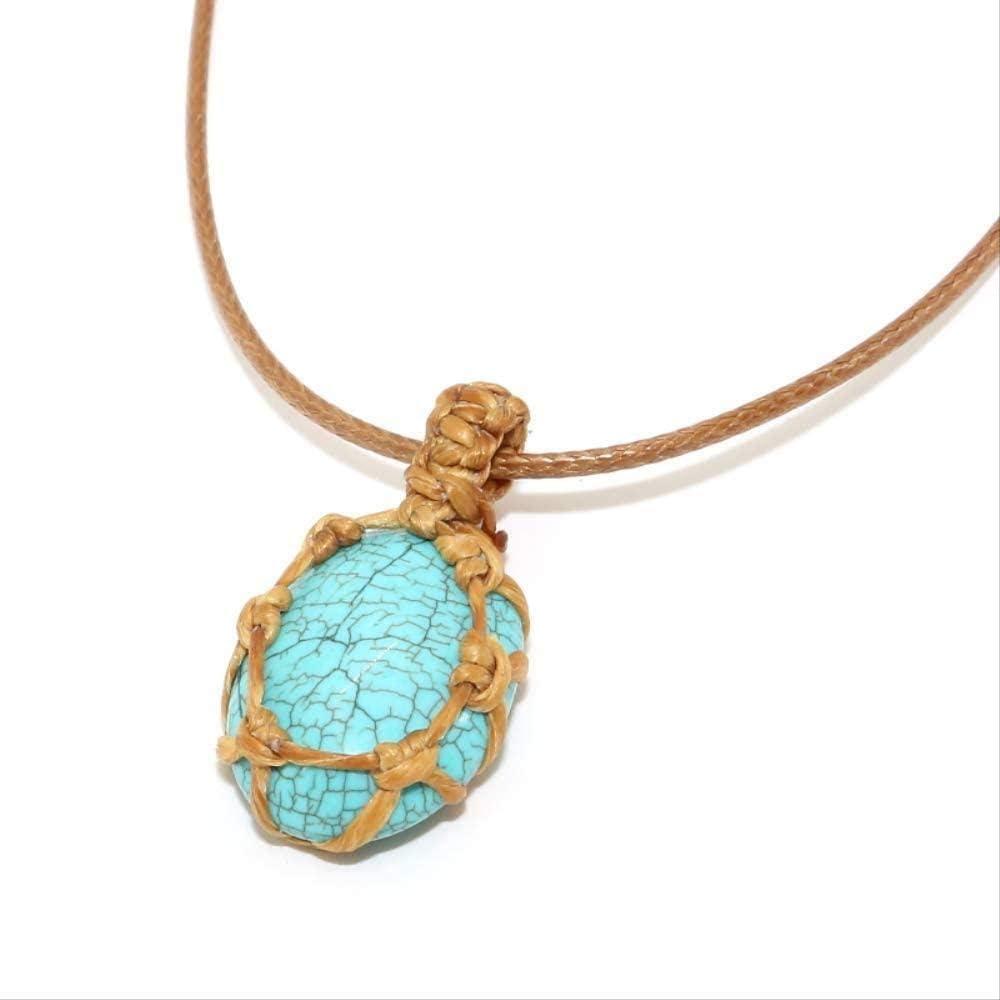 niuziyanfa Co.,ltd Collar con Personalidad, Colgante de Cristal de Piedra Natural, Collar Trenzado, Collar de macramé de Yoga para Hombres y Mujeres