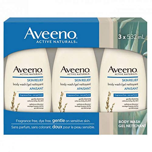 Aveeno Active Naturals Skin Relief Body Wash, Fragrance Free, 18 Fl. Oz , Pack of 3