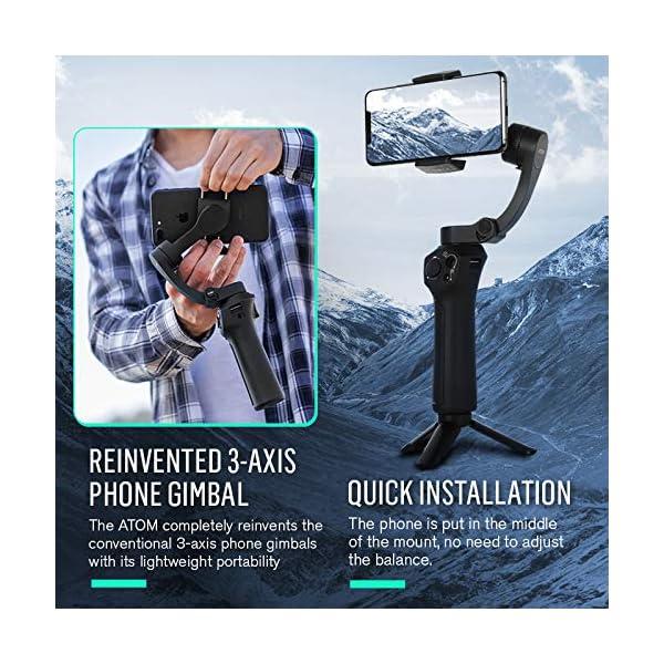 Stabilizzatore Smartphone Snoppa Atom Foldable, Gimbal Smartphone 3 Assi, per Cellulare iPhone Huawei Xiaomi Samsung etc, stabilizzatore per gopro 8 7 6 5, 310g carico utile, durata 24 ore,Pan 360° 3 spesavip