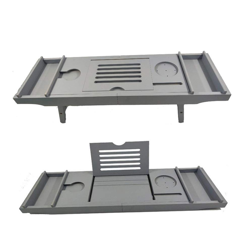 Bathtub Trays HAIZHEN, Bamboo, Adjustable Telescopic Bed Laptop Desk with Wine Glass/Phone Holder /2 Sliding Tray (Gray)