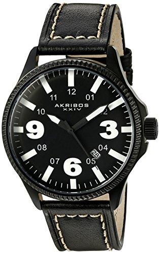 Akribos XXIV Men's AK833WT Quartz Movement Watch with Black Dial and Black with White Stitching Leather Strap