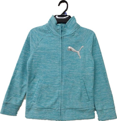 PUMA Girls' Full Zip Jacket (Faster Blue Heather, Medium(8/10)) Puma Girls Jacket