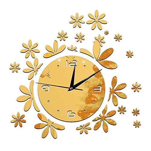 Alxcio DIY Frameless Wanduhr Nicht-ticken Stumm 3D Acryl Aufkleber Wandtattoo Modern Abnehmbar Dekoration Uhr für Wohnzimmer, Büro, Schlafzimmer und Küche, Stil A Gold