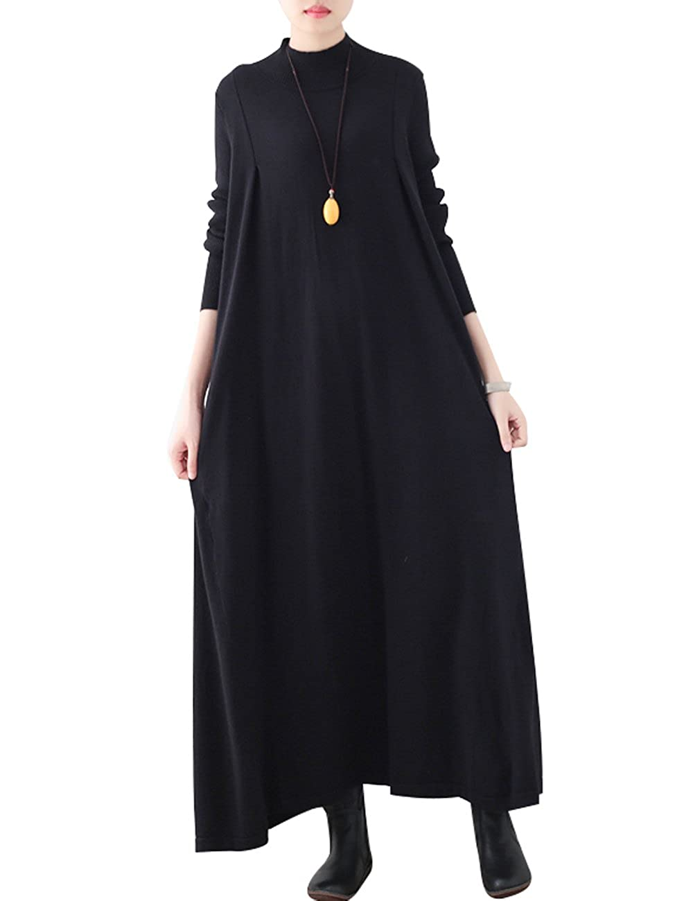 Black Zoulee Women Turtleneck Long Sleeve Maxi Knit Sweater Dress