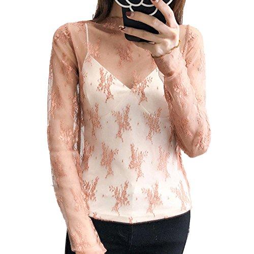 Sheer Mesh Cami - EFINNY Women's Sheer Mesh Blouse T-Shirt See Through Long Sleeve Lace Tank Tops