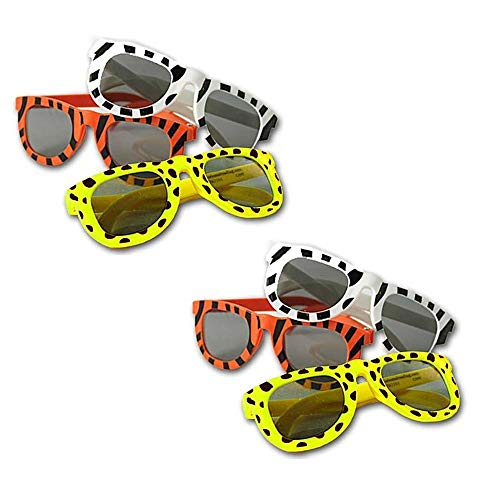 Totem World 24 Animal Print Sunglasses, Safari Party Favor Supply Pack, Assorted Leopard Tiger Zebra Print Design Shades ()