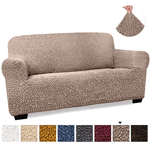 Loveseat Cover - Loveseat Slipcovers - Loveseat Couch Covers - Soft Polyester Fabric Slipcovers - 1-piece Form Fit Stretch Stylish Furniture Cover - Microfibra Collection - Сappuccino (Loveseat)