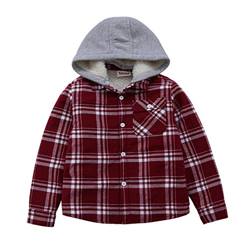 MOMOLAND Little Boys Long Sleeve Sherpa Lined Flannel Shirt Jacket With Hood (7-8Y, Red and White) Flannel Boys Jacket