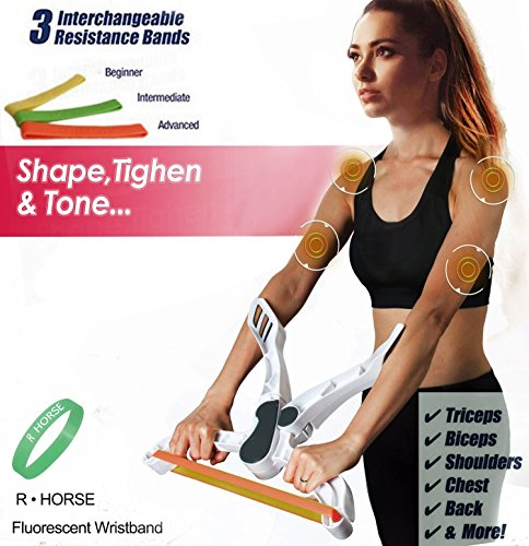 R • HORSE Arm Workout Machine Tones Strengthens Arms Biceps Shoulders Chest As Seen As On TV with 3 Resistance Exercise Bands