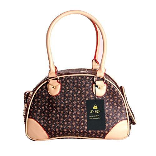 B-JOY-Fashion-Dog-Carrier-PU-Leather-Dog-Handbag-Dog-Purse-Cat-Tote-Bag-Pet-Cat-Dog-Hiking-Tasche-S38cm23cm17cm-Brown