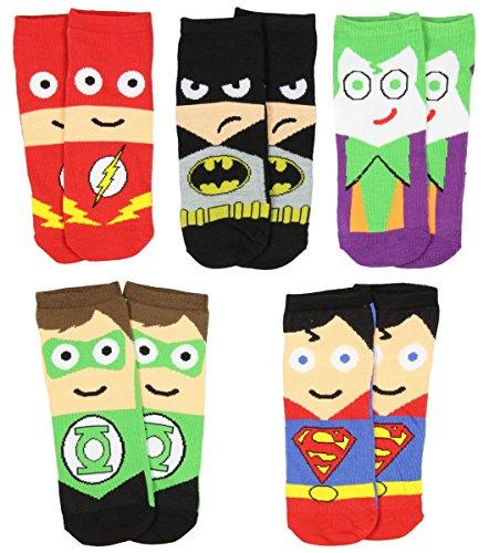 DC Comics Mens Superhero Cartoon Character Socks 5 Pair (Adult Cartoon Characters)