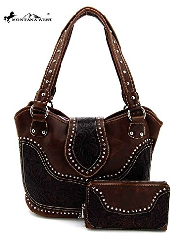 Concealed Carry Tooled Leather Shoulder Purse - Concealed Weapon Gun Bag w/ Matching Wallet By Montana West (Coffee)