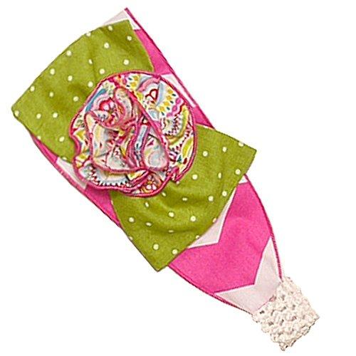 Sophias Style Exclusive Girls Harper Pink White Chevron Green Dot Stretch Headband from Sophias Style