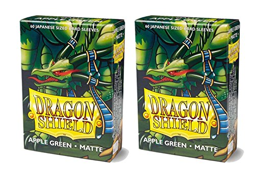 Apple Cards Green (Dragon Shield Bundle: 2 Packs of 60 Count Japanese Size Mini Matte Card Sleeves - Matte Apple Green)