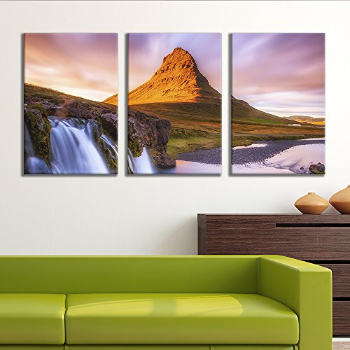 3 Panel Majestic Natural Landscape Triptych Series Waterfalls and Lone Mountain x 3 Panels