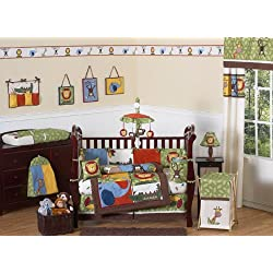 Jungle Safari Monkey, Giraffe, Lion, Animal theme Baby Boy Bedding 9pc Crib Set by Sweet Jojo Designs