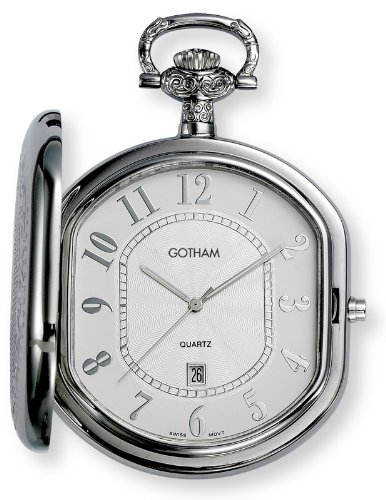 Gotham Men's Silver-Tone Swiss Quartz Pocket Watch with Desktop Stand # GWC14044S-ST