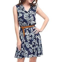 Allegra K Women's Floral Prints Sleeveless Belted Shirt Dress XS Dark Blue