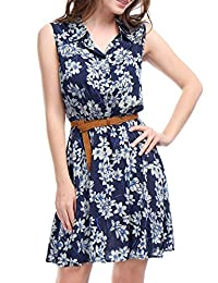 Allegra K Women's Printed Half Placket Above Knee Sleeveless Belted Dress