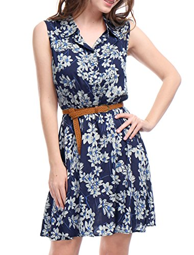 Allegra K Women's Floral Prints Sleeveless Belted Shirt Dress M Dark Blue (Belted Sleeveless Shirt)