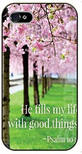 Iphone 5 5s Bible Verse Floral He Fills My Life With Good Things Psalm 103 Black Plastic Case Verses Inspirational And Motivational Amazon Co Uk Electronics