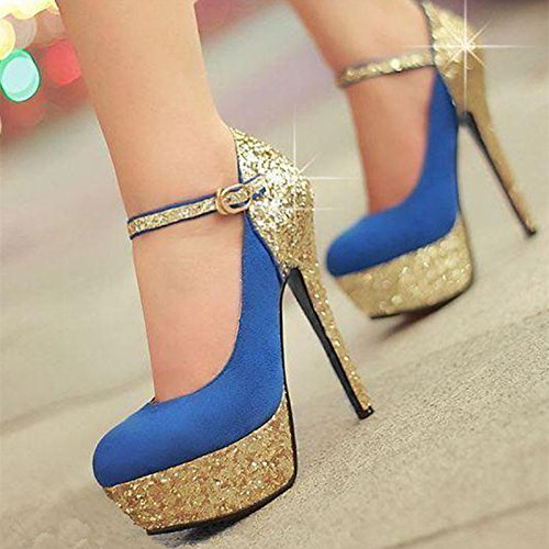 Sandals High The 34 Red Heeled 8 45 Are VIVIOO Leather Shoes Cloth Size Shoes Blue Sequins Prom Sweet Trim Blue q5wxnt7F