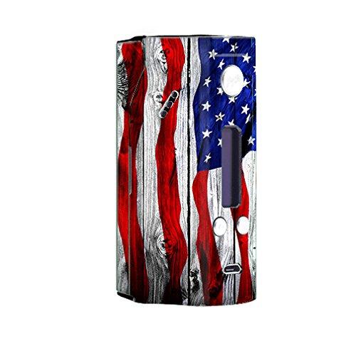 Skin Decal Vinyl Wrap for Wisemec Reuleaux rx200 or evolv dna 200 Vape Mod Box / American Flag on Wood (Best Dna 200 Mod)