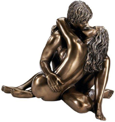 Love Statue (Enraptured in Love Nude Lovers Romantic Bronze Desktop Table Sculpture Statue)