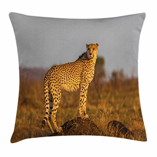 Ambesonne Safari Throw Pillow Cushion Cover, African Wild Animal Cheetah Standing on Termite Mound Savannah Nature View, Decorative Square Accent Pillow Case, 40 X 40 inches, Ginger Apricot Dust